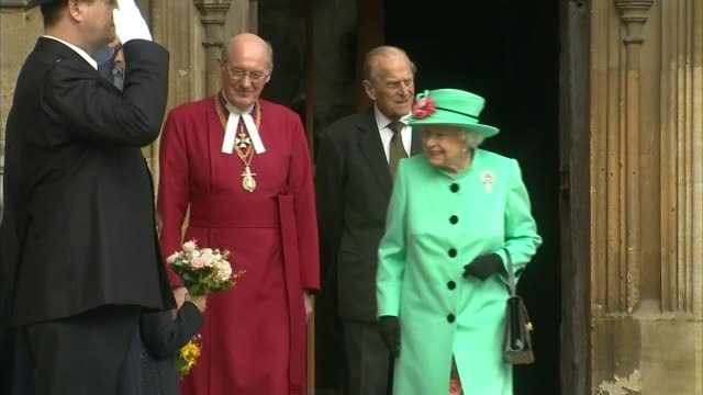 prince philip to step down from public engagements prince philip to step down from public engagements lib windsor castle st george's chapel ext queen... - the queen stock videos and b-roll footage