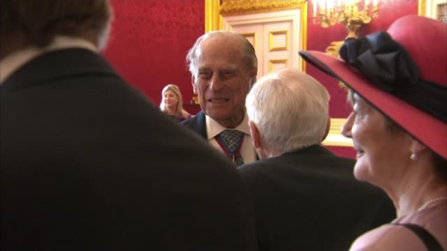 Prince Philip to step down from public engagements Prince Philip to step down from public engagements St James's Palace INT Various of Prince Philip...