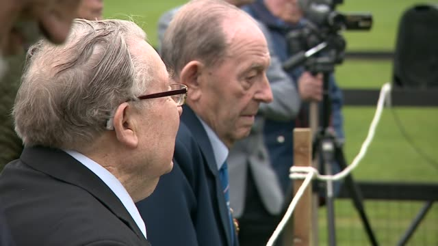prince philip unveils smith's lawn airfield memorial england bershire windsor ext prince philip the duke of edinburgh arriving and being greeted /... - sander stock videos and b-roll footage