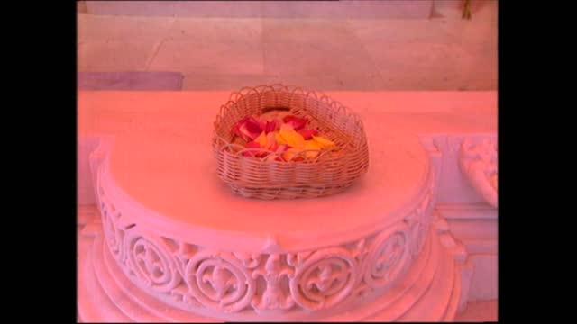prince philip visits neasden temple; england: london: neasden: swaminarayan hindu temple: int gvs shrine - shrine stock videos & royalty-free footage