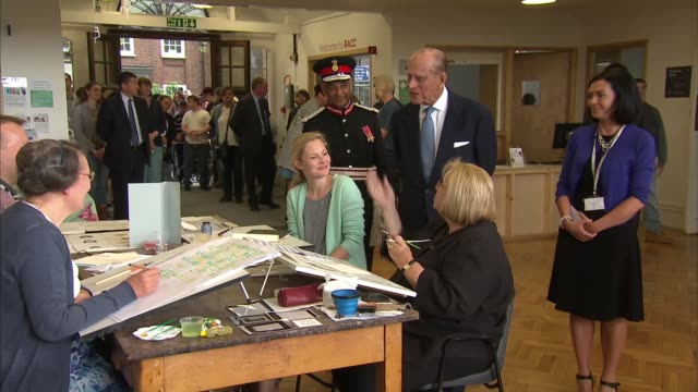 prince philip visits richmond adult community college england sw london richmond int general views of community college students in calligraphy and... - richmond upon thames stock-videos und b-roll-filmmaterial