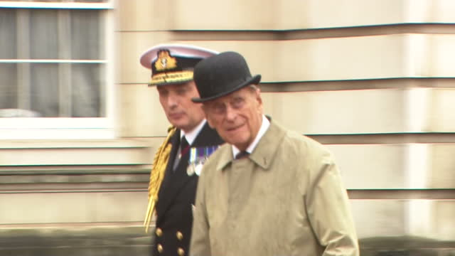 prince philip who turned 96 in june attends a parade at buckingham palace to mark the finale of the royal marines 1664 global challenge his... - エジンバラ公爵点の映像素材/bロール