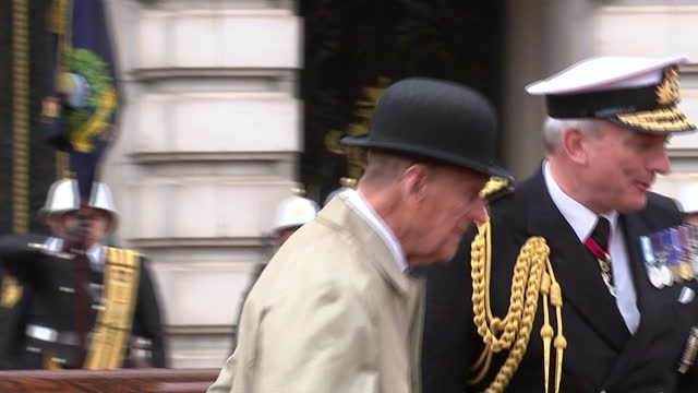 prince philip, who turned 96 in june, attends a parade at buckingham palace to mark the finale of the royal marines 1664 global challenge. his... - retirement stock videos & royalty-free footage