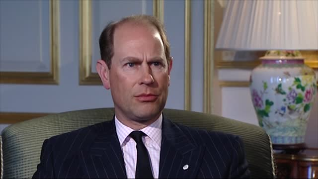 prince philip,duke of edinburgh dies aged 99:interview with prince edward, earl of wessex; england: int prince edward, earl of wessex interview sot... - father stock videos & royalty-free footage