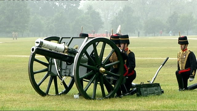 prince philip's 91st birthday marked by gun salute england london hyde park ext the king's troop royal horse artillery riding into hyde park... - royal horse artillery stock videos and b-roll footage