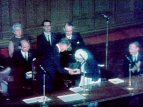 prince phillip presents mother teresa with first templeton prize for progress in religion london 1973 - 1973 stock videos & royalty-free footage