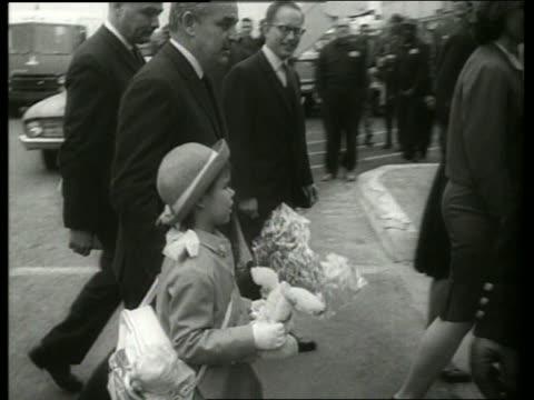 B/W Prince Rainier and Princess Caroline arrive NY airport / 1960's / SOUND