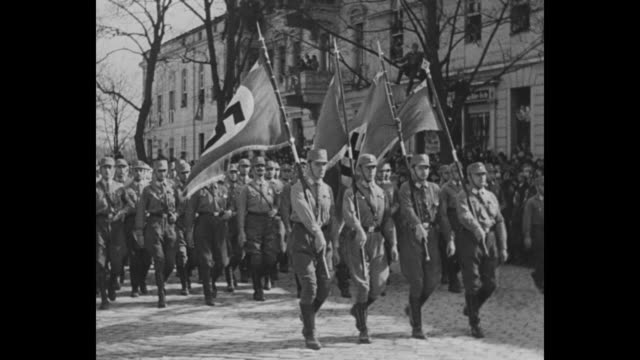 cu prince wilhelm and field marshal august von mackensen watching parade / brown shirts march by holding flags with nazi insignia / cu vice... - ナチズム点の映像素材/bロール