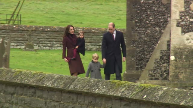 Prince William and Catherine Duchess of Cambridge attending Christmas day service with their children in Bucklebury Berkshire