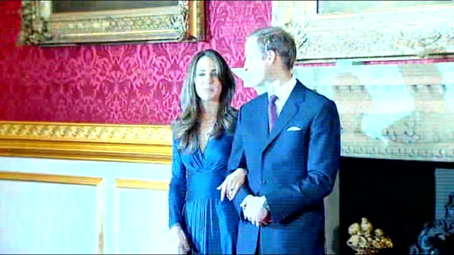 prince william and his fiancee kate middleton posing for photocall - itv london tonight weekend stock videos & royalty-free footage