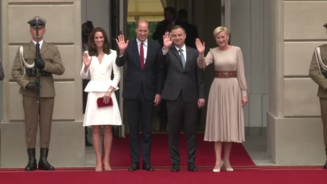 prince william and his wife kate arrive in warsaw on a five day diplomacy tour of poland and germany in the wake of brexit which has tarnished... - tour of britain stock videos & royalty-free footage