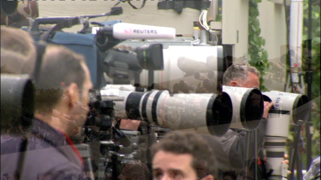 prince william and kate arrive for honeymoon lib press photographers lined up in media stands on royal wedding day long lens cameras prince william... - honeymoon stock videos & royalty-free footage