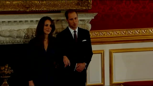 vídeos y material grabado en eventos de stock de prince william and kate middleton announce their engagement press photocall england london st james's palace throughout * * prince william into room... - propuesta