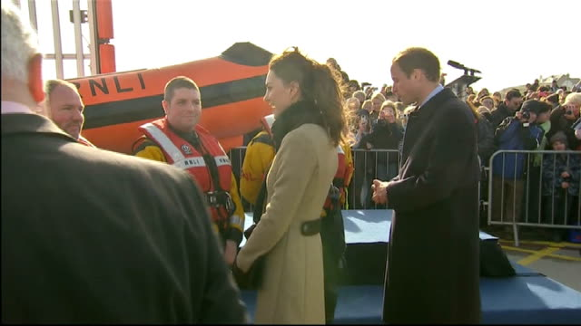 Prince William and Kate Middleton carry out first formal engagement in Anglesey Prince William and Kate Middleton across and meeting lifeboat crew