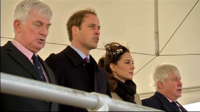Prince William and Kate Middleton carry out first formal engagement in Anglesey Prince William Kate Middleton and others on platform singing the...