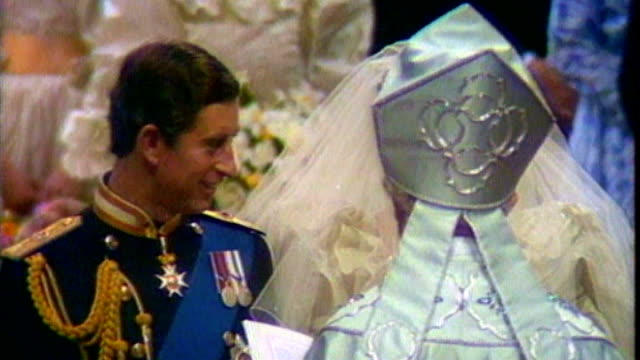 prince william and kate middleton engagement: details of wedding day revealed; tx 29.7.1981 int robert runcie marrying prince charles and princess... - robert runcie stock videos & royalty-free footage