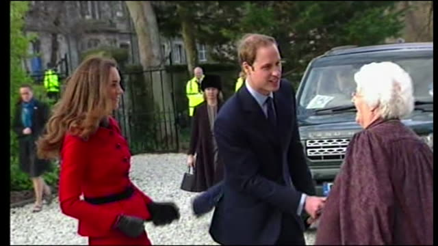 prince william and kate middleton saint andrews london kate and william arrival / kate wearing red and black outfit - university stock videos & royalty-free footage