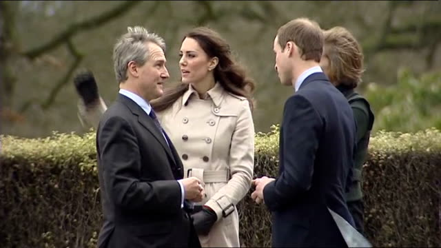 prince william and kate middleton visit belfast hillsborough castle ext prince william kate middleton owen and rose paterson talking as along - owen paterson stock videos and b-roll footage
