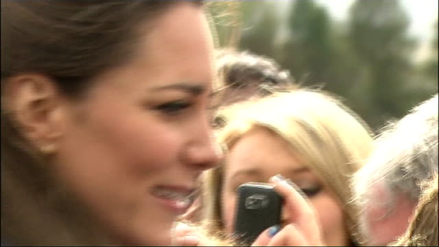 Prince William and Kate Middleton visit Lancashire / council approval for royal wedding street parties ENGLAND Lancashire EXT Kate Middleton shaking...