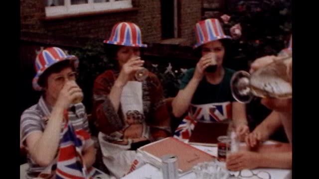 prince william and kate middleton wedding barbara windsor appointed 'street party ambassador' lib location unknown ext **song 'celebration' by kool... - street party stock videos and b-roll footage