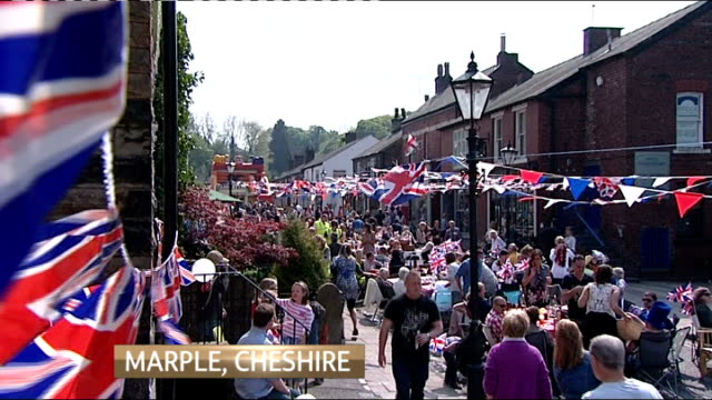 prince william and kate middleton wedding day crowds and street parties cheshire marple various general views street party as local residents... - street party stock videos and b-roll footage