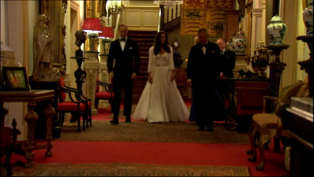 prince william and kate middleton wedding day: duke and duchess of cambridge depart clarence house; england: london: clarence house: int flowers in... - dress stock videos & royalty-free footage