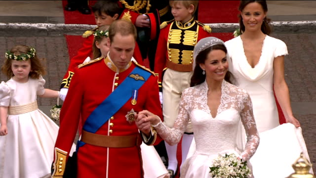 prince william and kate middleton wedding day fashion and wedding style westminster abbey prince william and his now wife catherine along on red... - prince william stock videos & royalty-free footage