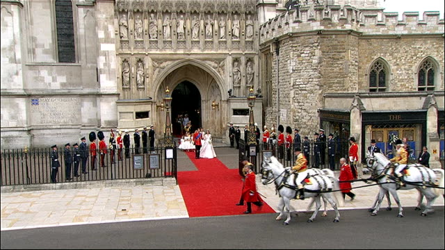 Prince William and Kate Middleton wedding day mililtary duties Westminster Abbey Prince William and his bride Catherine exiting Abbey along on red...
