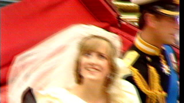 prince william and kate middleton wedding day: princess diana legacy; tx 29.7.1981 prince charles, prince of wales, and diana, princess of wales... - ダイアナ妃点の映像素材/bロール