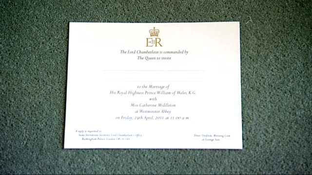 Prince William and Kate Middleton wedding invitations sent out Blank wedding inviation
