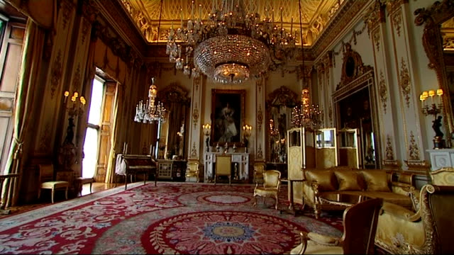 prince william and kate middleton wedding preparations at buckingham palace kitchens and state rooms general views of state rooms the white drawing... - buckingham stock videos & royalty-free footage
