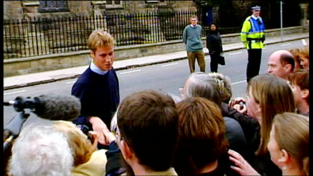 Prince William and Prince Charles meeting crowd during walkabout on his arrival at St Andrews University Prince Charles and Prince Williams back to...