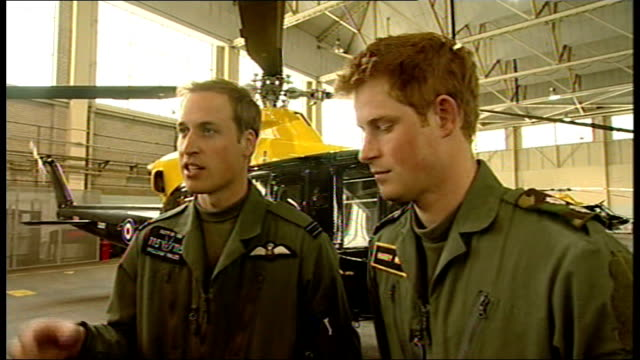 prince william and prince harry interview at raf shawbury; prince william and prince harry interview sot - [william] he is doing a fantastic job and... - interview stock videos & royalty-free footage