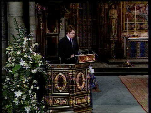 Prince William and Prince Harry LIB London Westminster Abbey Earl Spencer speech pledge that we your blood family will do all we can to continue the...
