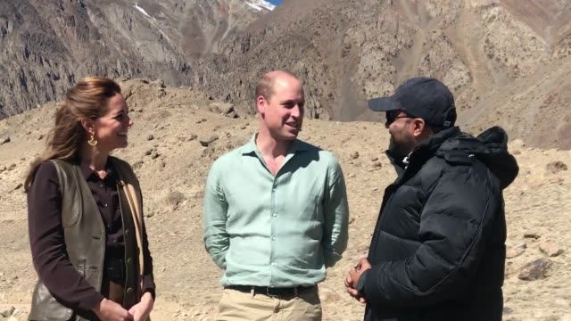 prince william and the duchess of cambridge visit chiatibo glacier in pakistan to study the impact of global warming. the royal couple talk to... - pakistan stock videos & royalty-free footage