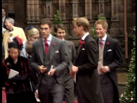 prince william appoints private secretary; file / date unknown prince william and prince harry chatting outside church clean feed tape = d0599257 or... - british royalty stock videos & royalty-free footage