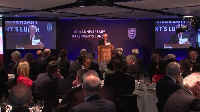 prince william attends 10th anniversary president's lunch reception at wembley applause / greg dyke chairman of the football association to podium to... - greg dyke stock videos & royalty-free footage