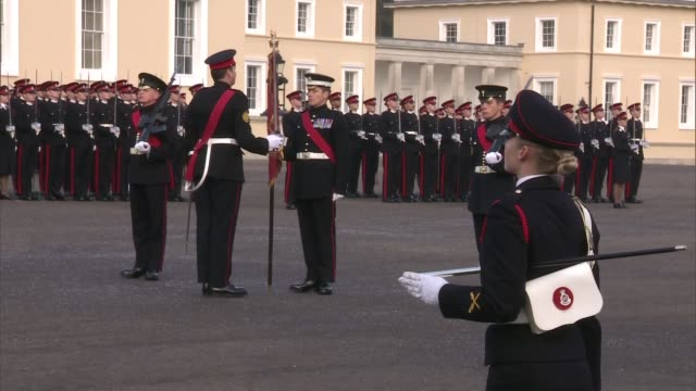 Prince William attends Sovereign's Parade at Sandhurst Academy ENGLAND Berkshire Royal Military College Sandhurst EXT Various shots of Prince William...