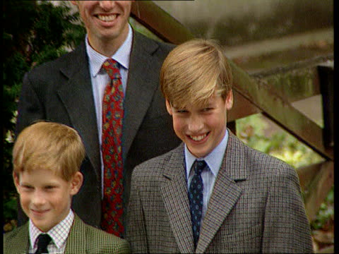 birthday pictures released hLTN HARRY LIB ENGLAND Berkshire Eton EXT Prince Charles Diana Princess of Wales Prince William and Prince Harry at Eton...