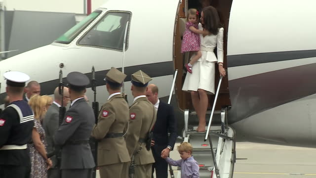 Prince William Catherine Duchess of Cambridge Prince George and Princess Charlotte arriving in Warsaw Poland
