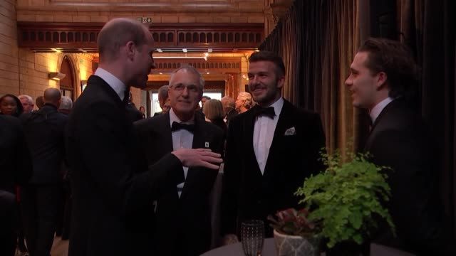 Prince William chats to David Beckham and his son Brooklyn at world premiere of David Attenborough new Netflix series Our Planet at the Natural...
