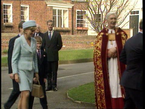 BerksWindsorSt George's Chapel Princess Diana shakes hands with clergyman Prince William ditto Prince Charles leads group into church as followed by...