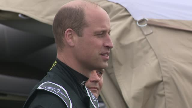 prince william drives electric racing car at knockhill race track; scotland: fife: knockhill race track: ext prince william, duke of cambridge and... - sports utility vehicle stock videos & royalty-free footage