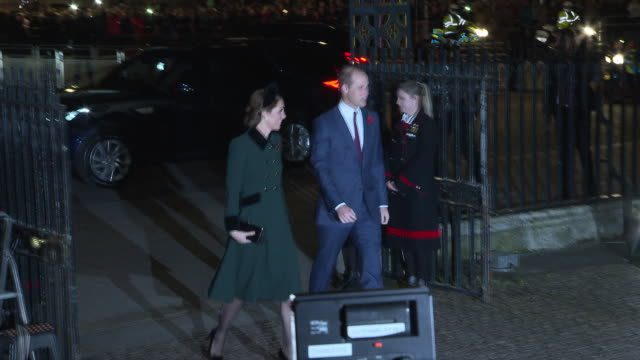 prince william, duke of cambridge and catherine, duchess of cambridge attend a service marking the centenary of ww1 armistice at westminster abbey on... - westminster abbey stock videos & royalty-free footage