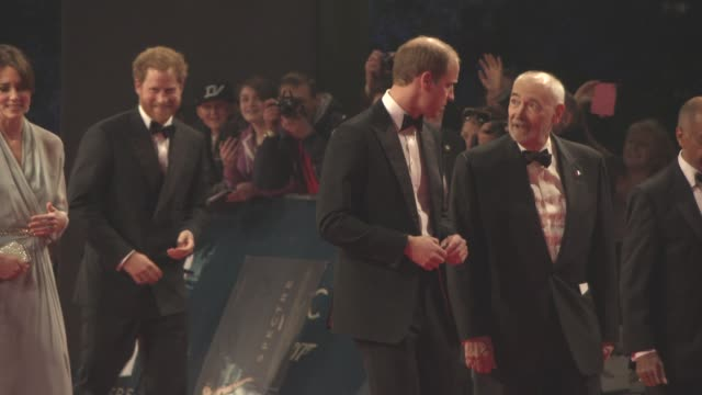 prince william, duke of cambridge, catherine, duchess of cambridge, prince harry, sam mendes at 'spectre' world premiere at royal albert hall on... - sam mendes stock videos & royalty-free footage