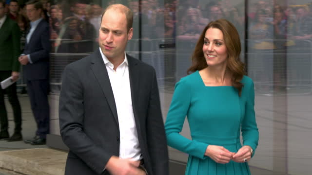 prince william duke of cambridge catherine duchess of cambridge visit the bbc to highlight work combating cyberbullying at bbc broadcasting house on... - duchess of cambridge stock videos & royalty-free footage