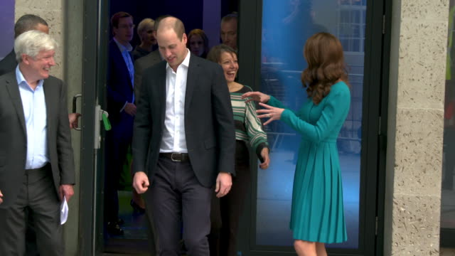 vídeos de stock, filmes e b-roll de prince william, duke of cambridge, catherine, duchess of cambridge visit the bbc to highlight work combating cyberbullying at bbc broadcasting house... - bbc