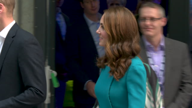4k prince william duke of cambridge catherine duchess of cambridge visit the bbc to highlight work combating cyberbullying at bbc broadcasting house... - キャサリン妃点の映像素材/bロール