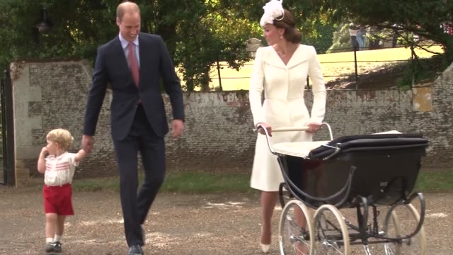 Prince William Duke of Cambridge Prince George of Cambridge Catherine Duchess of Cambridge Princess Charlotte of Cambridge leaving at The Christening...