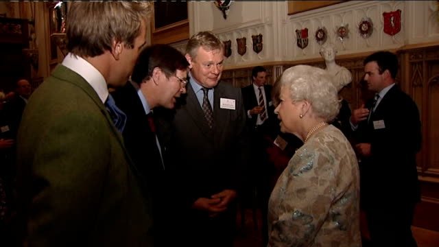 speculation over wedding date and location int queen elizabeth talking with guests including actor martin clunes and tv chef clarissa dickson wright... - clarissa dickson wright stock videos & royalty-free footage
